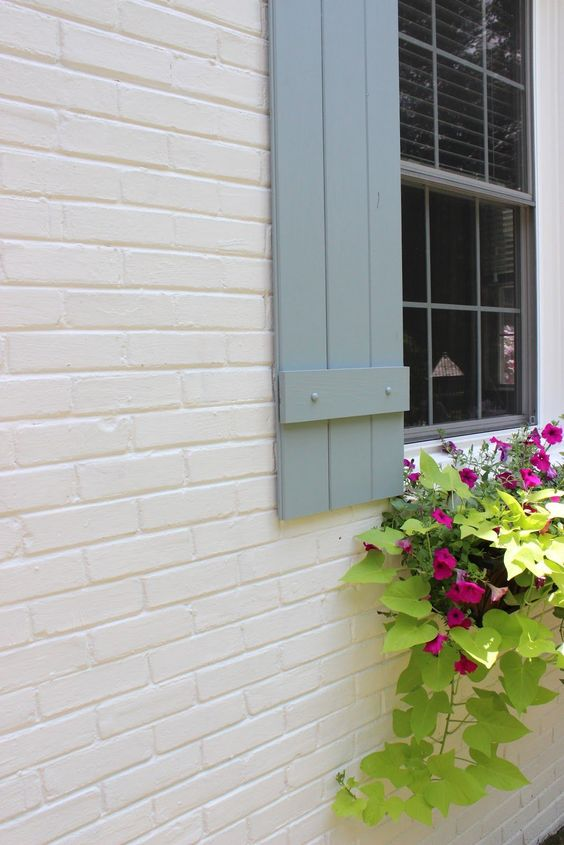 Soft gray shutters on window with nice window plants body of the house is a soft cream brick