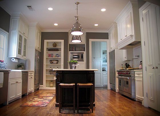Dark Gray Kitchen Cabinets With Light Gray Walls Gray Kitchen Walls, White Cabinets, Light Fixtures Above