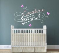 Name wall decals Music notes wall decal Nursery wall mural ...