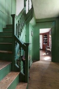Painted stairs, Green colors and Saltbox houses on Pinterest