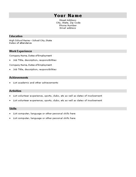 Basic Resume Template For High School Students - Http://Www