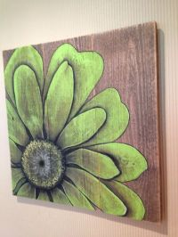 Green flower painted in acrylics on barn board | Patina ...