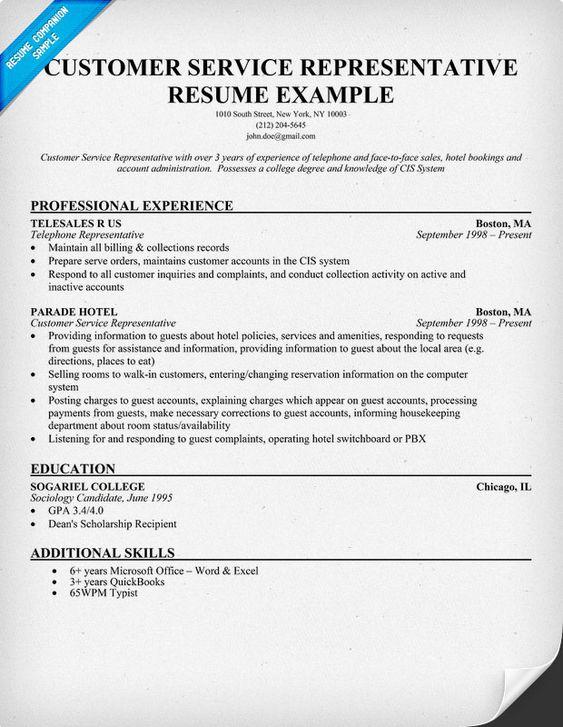Resume For Service Industry Resume Sample Customer Service