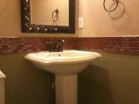 "Bathroom Chair-rail. Reddish color glass 1""x2"" tile with ..."