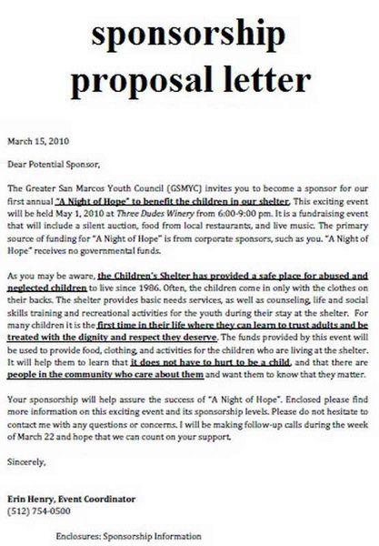 Sample Sport Event Sponsorship Proposal Template Free   School
