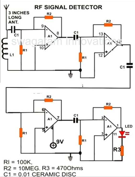 how to make a cell phone rf signal detector circuit a simple