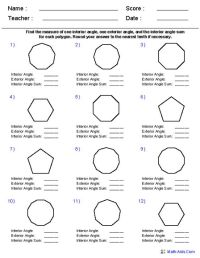 Names of Polygons | Geometry Worksheets | Quadrilaterals ...