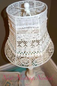 Lace lampshade. Made by removing the original shade till