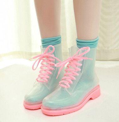 Fashion kawaii candy color rain boots:
