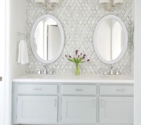 Fantastic builder basic master vanity makeover with diamond backsplash tile: