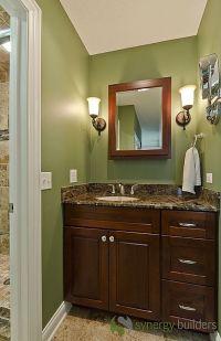Craftsman 3/4 Bathroom - sconces, green with dark brown ...