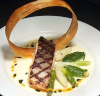 Food Plating Idea. Grilled Salmon with a Potato Ring ...
