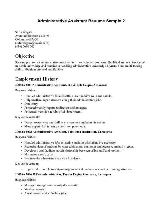 Resume Objective For Office Assistant Office Assistant Resume - administrative assistant office resume