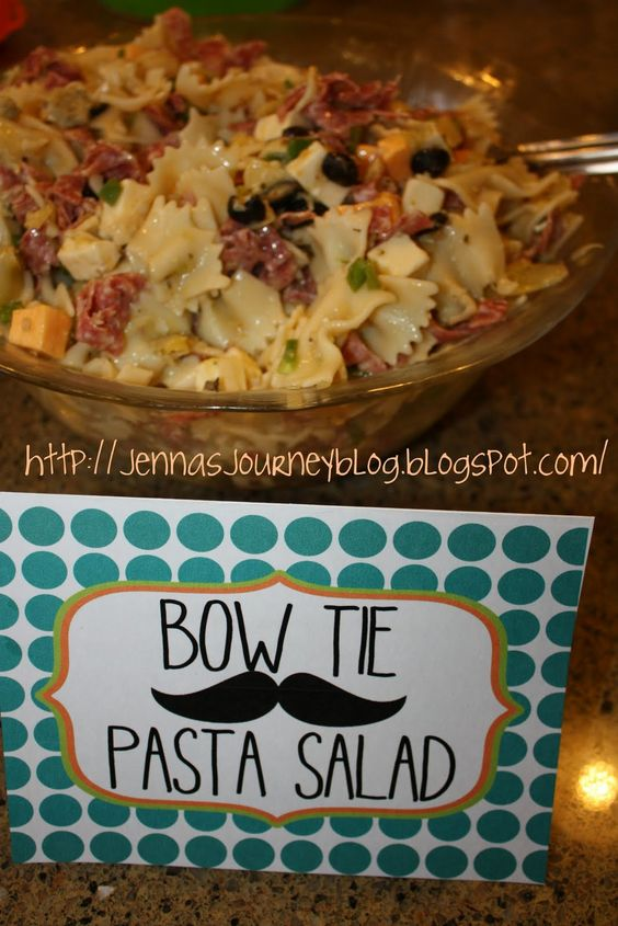 Bowtie salad for mustache themed baby shower