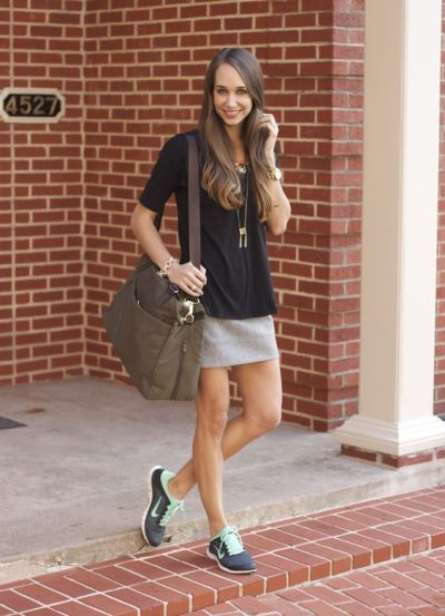 grey skirt, nike frees, lo and sons, blair culwell, fox and she | Elle * Style | Pinterest | The ...