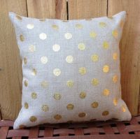 Gold Polka Dot Burlap Pillow Covers Zippered Pillow ...