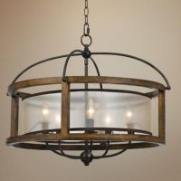 "Mission 26"" Wide Wood 5-Light Pendant Chandelier 