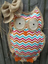 Owl Burlap Door Hanger Door Decoration Mixed Media | DIY ...