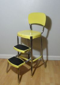 Vintage Step Stool . Stool Chair Ladder . Yellow Step ...