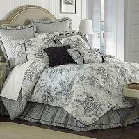 Floral french toile king comforter set black white new nib ...