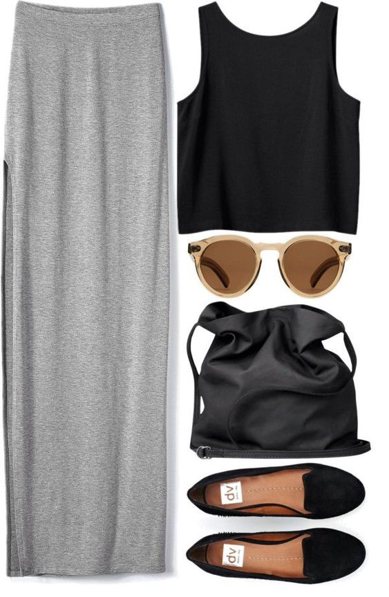 Minimal + Chic | crop top. maxi skirt. #outfit #casual #simple: