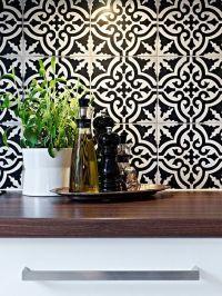 inspiring moroccan tile backsplash ideas black white tiles ...