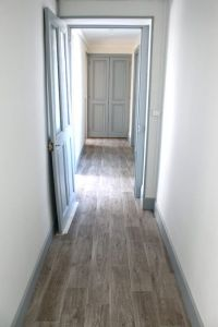 love these greyish brown floors, plus light blue gray ...
