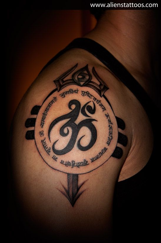 Om with mantra and trishul extension tattoo concept