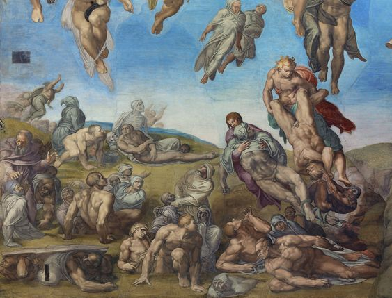 Michelangelo, Resurrection of the Dead, The Last Judgment, 1534–1541, Sistine Chapel, Rome.: