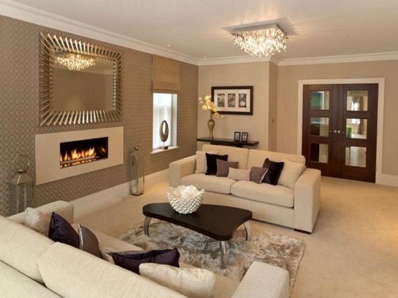 Classy Design Ideas Of Home Living Room With Beige Wall Paint