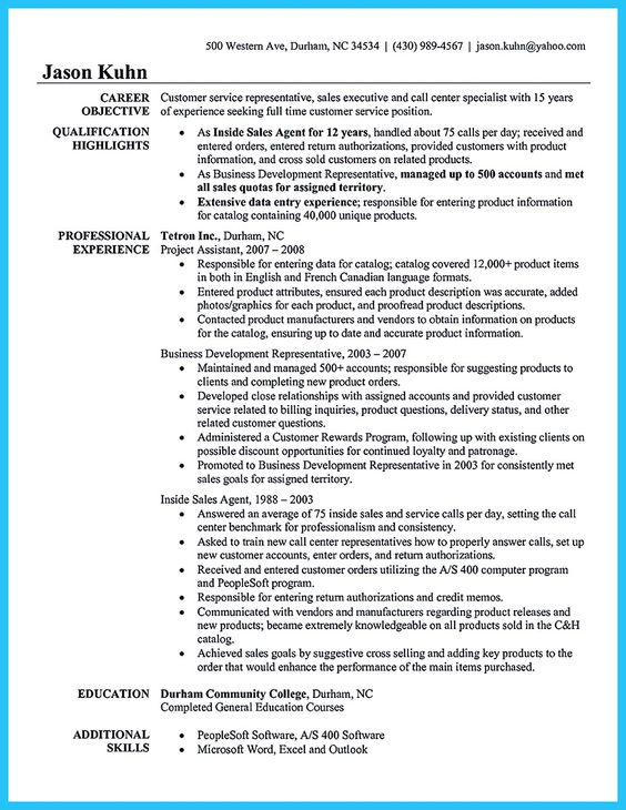 inbound call center resume examples