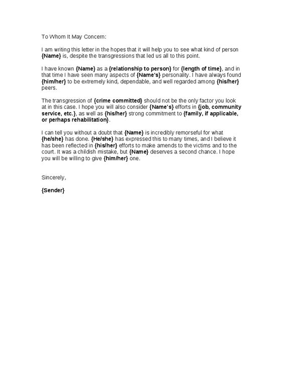 Character Reference Letter For A Friend Going To Court