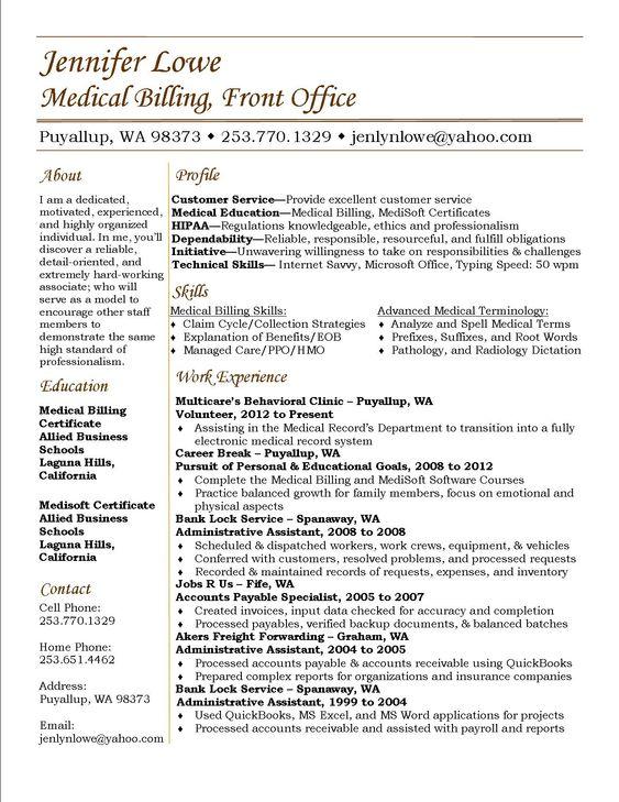 Jennifer Lowe Resume - Medical Billing #Resume #Career | Medical
