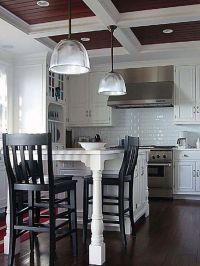 Coffered Ceiling Design, but with a more rustic wood in