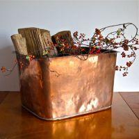 Antique Hammered Copper Tub - Large Fireplace Log Holder ...