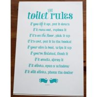 BOXING DAY SALE The Toilet Rules - Handmade Silk Screen ...