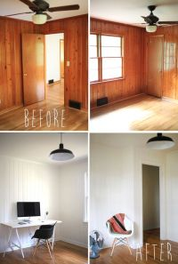 painted wood panelling - before and after | Office ...