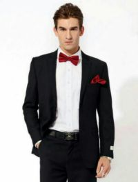 Black tux with red bow tie | prom ideas | Pinterest | Bow ...
