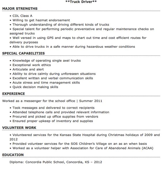 Resume Truck Driver Truck Driver Resume Sample And Tips Resume