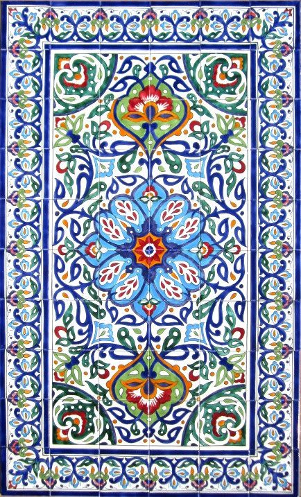Zementfliesen Portugal Decorative Persian Tiles: Persian Design Mosaic Panel Hand
