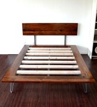 Platform Bed And Headboard Queen Size On Hairpin Legs SALE ...