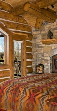 Big Sky Lodge Style | Rustic bedrooms, Cabin and Logs