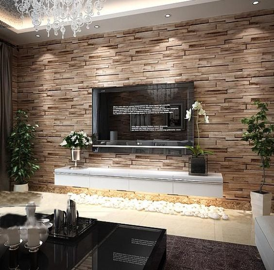 Tv Lowboard Holz Pvc Wood Stone Brick Wallpaper 3d Modern Wall Paper Luxury