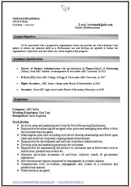 Download Sample Resume Format Free Sample Resume Formats Pinterest • The World's Catalog Of Ideas