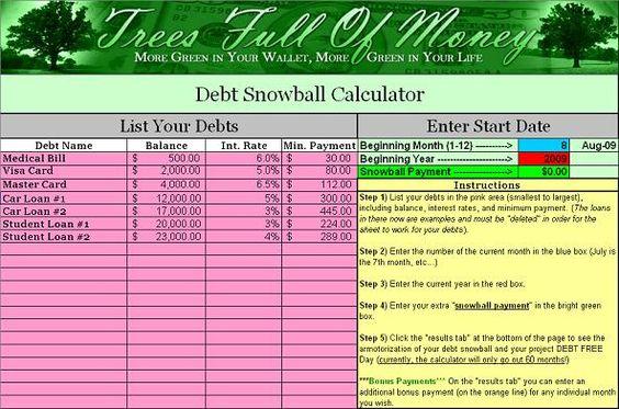7 snowball spreadsheet