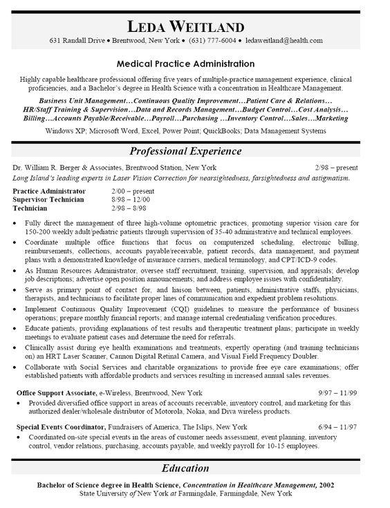 administrative officer resume objective faceboulcom - Resume For Health Science Majors