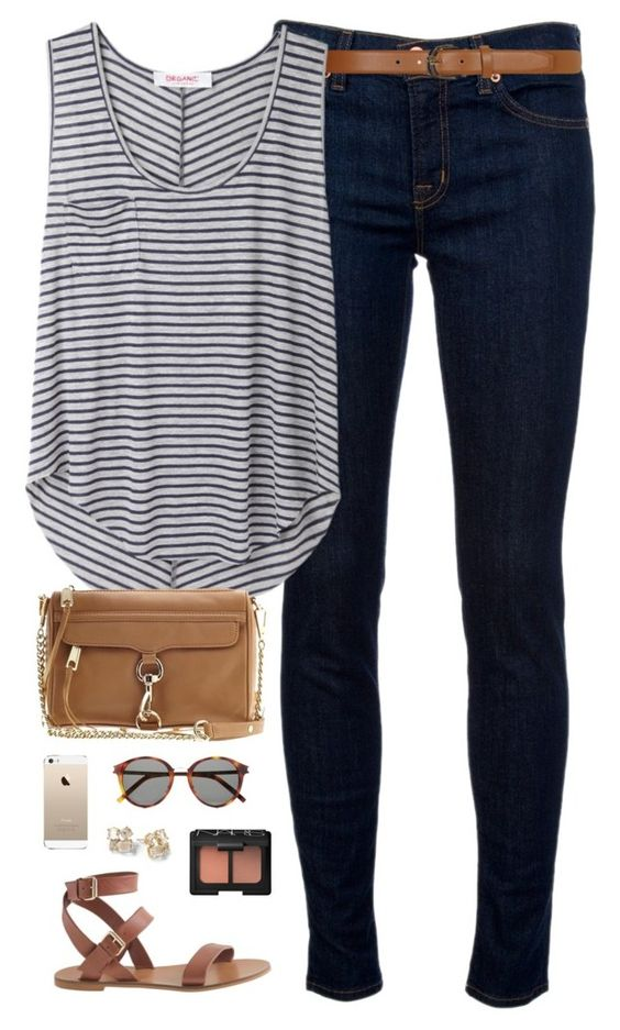 ootd by classically-preppy on Polyvore featuring Organic by John Patrick, J Brand, J.Crew, Dorothy Perkins, Yves Saint Laurent, NARS Cosmetics, Rebecca Minkoff and Kate Spade: