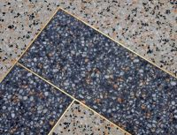blue terrazzo flooring with brass inlay Great color and ...