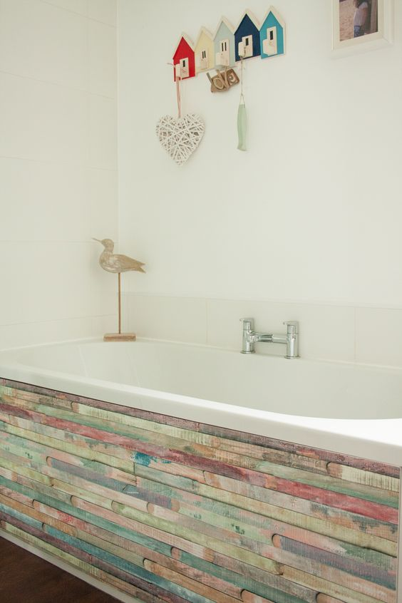 How To Stick Bathroom Wall Panels D-c-fix® Rio Design Shown On Bath Panel. Simply Peel And