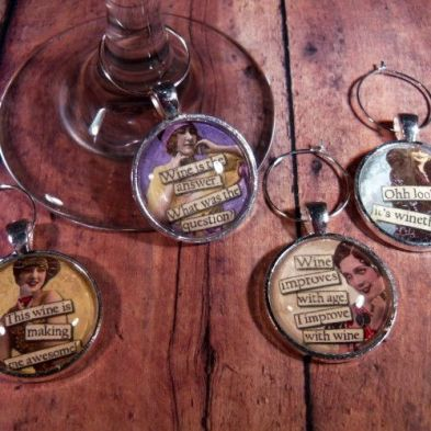"""Wine a Little"" Wine Glass Charms - Set of 4:"